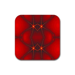 Impressive Red Fractal Rubber Square Coaster (4 Pack)  by Simbadda