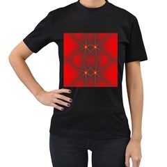 Impressive Red Fractal Women s T Shirt (black) (two Sided)