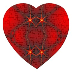 Impressive Red Fractal Jigsaw Puzzle (heart) by Simbadda