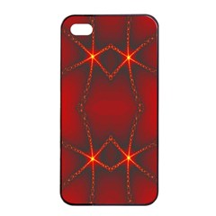 Impressive Red Fractal Apple Iphone 4/4s Seamless Case (black) by Simbadda