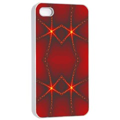 Impressive Red Fractal Apple Iphone 4/4s Seamless Case (white) by Simbadda