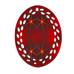 Impressive Red Fractal Oval Filigree Ornament (two Sides) by Simbadda
