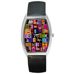 Abstract A Colorful Modern Illustration Barrel Style Metal Watch by Simbadda