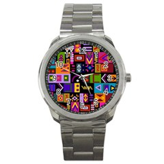 Abstract A Colorful Modern Illustration Sport Metal Watch by Simbadda