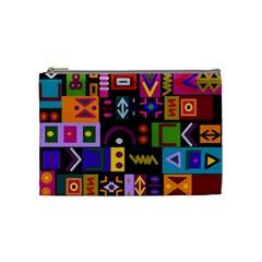 Abstract A Colorful Modern Illustration Cosmetic Bag (medium)  by Simbadda
