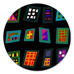 Abstract A Colorful Modern Illustration Magnet 5  (round) by Simbadda