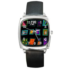 Abstract A Colorful Modern Illustration Square Metal Watch by Simbadda