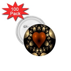 Fractal Of A Red Heart Surrounded By Beige Ball 1 75  Buttons (100 Pack)  by Simbadda