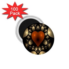 Fractal Of A Red Heart Surrounded By Beige Ball 1 75  Magnets (100 Pack)  by Simbadda