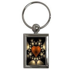 Fractal Of A Red Heart Surrounded By Beige Ball Key Chains (rectangle)  by Simbadda