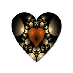 Fractal Of A Red Heart Surrounded By Beige Ball Heart Magnet by Simbadda