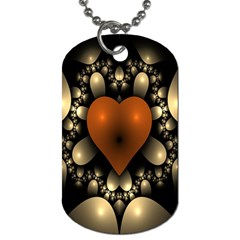 Fractal Of A Red Heart Surrounded By Beige Ball Dog Tag (two Sides) by Simbadda
