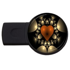Fractal Of A Red Heart Surrounded By Beige Ball Usb Flash Drive Round (4 Gb) by Simbadda
