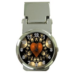 Fractal Of A Red Heart Surrounded By Beige Ball Money Clip Watches by Simbadda