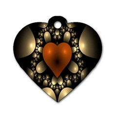 Fractal Of A Red Heart Surrounded By Beige Ball Dog Tag Heart (one Side) by Simbadda