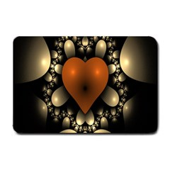 Fractal Of A Red Heart Surrounded By Beige Ball Small Doormat  by Simbadda