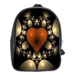 Fractal Of A Red Heart Surrounded By Beige Ball School Bags(large)  by Simbadda