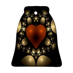 Fractal Of A Red Heart Surrounded By Beige Ball Ornament (bell) by Simbadda