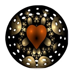 Fractal Of A Red Heart Surrounded By Beige Ball Round Filigree Ornament (two Sides) by Simbadda