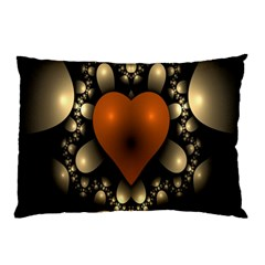 Fractal Of A Red Heart Surrounded By Beige Ball Pillow Case (two Sides) by Simbadda
