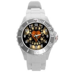 Fractal Of A Red Heart Surrounded By Beige Ball Round Plastic Sport Watch (l) by Simbadda