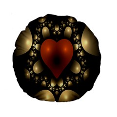 Fractal Of A Red Heart Surrounded By Beige Ball Standard 15  Premium Round Cushions by Simbadda