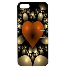Fractal Of A Red Heart Surrounded By Beige Ball Apple Iphone 5 Hardshell Case With Stand by Simbadda