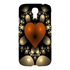 Fractal Of A Red Heart Surrounded By Beige Ball Samsung Galaxy S4 I9500/i9505 Hardshell Case by Simbadda