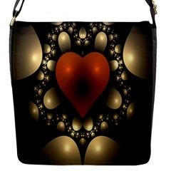 Fractal Of A Red Heart Surrounded By Beige Ball Flap Messenger Bag (s) by Simbadda