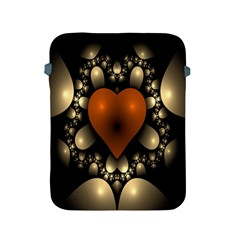 Fractal Of A Red Heart Surrounded By Beige Ball Apple Ipad 2/3/4 Protective Soft Cases by Simbadda