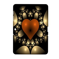Fractal Of A Red Heart Surrounded By Beige Ball Samsung Galaxy Tab 2 (10 1 ) P5100 Hardshell Case  by Simbadda