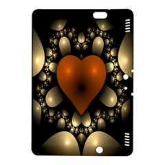 Fractal Of A Red Heart Surrounded By Beige Ball Kindle Fire Hdx 8 9  Hardshell Case by Simbadda