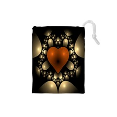 Fractal Of A Red Heart Surrounded By Beige Ball Drawstring Pouches (small)  by Simbadda