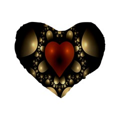 Fractal Of A Red Heart Surrounded By Beige Ball Standard 16  Premium Flano Heart Shape Cushions by Simbadda