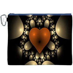 Fractal Of A Red Heart Surrounded By Beige Ball Canvas Cosmetic Bag (xxxl) by Simbadda