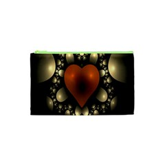Fractal Of A Red Heart Surrounded By Beige Ball Cosmetic Bag (xs) by Simbadda