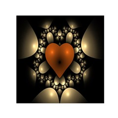 Fractal Of A Red Heart Surrounded By Beige Ball Small Satin Scarf (square) by Simbadda