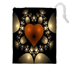 Fractal Of A Red Heart Surrounded By Beige Ball Drawstring Pouches (xxl) by Simbadda
