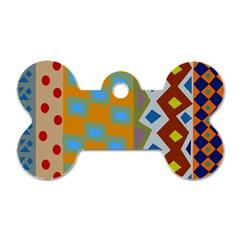Abstract A Colorful Modern Illustration Dog Tag Bone (two Sides) by Simbadda