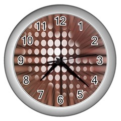 Technical Background With Circles And A Burst Of Color Wall Clocks (silver)  by Simbadda