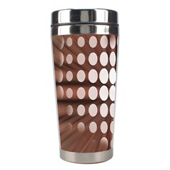 Technical Background With Circles And A Burst Of Color Stainless Steel Travel Tumblers by Simbadda