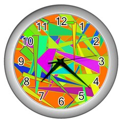 Background With Colorful Triangles Wall Clocks (silver)  by Simbadda