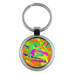 Background With Colorful Triangles Key Chains (round)  by Simbadda