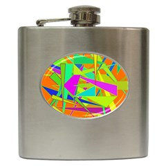Background With Colorful Triangles Hip Flask (6 oz) by Simbadda