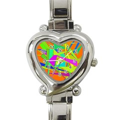 Background With Colorful Triangles Heart Italian Charm Watch by Simbadda