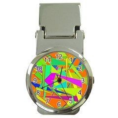 Background With Colorful Triangles Money Clip Watches by Simbadda