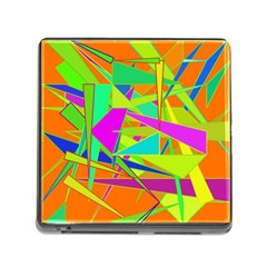 Background With Colorful Triangles Memory Card Reader (square) by Simbadda