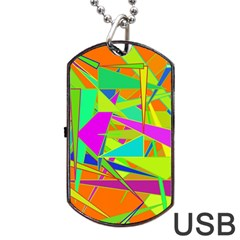 Background With Colorful Triangles Dog Tag Usb Flash (one Side) by Simbadda