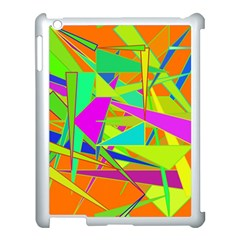 Background With Colorful Triangles Apple Ipad 3/4 Case (white) by Simbadda