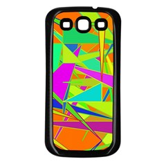 Background With Colorful Triangles Samsung Galaxy S3 Back Case (black) by Simbadda
